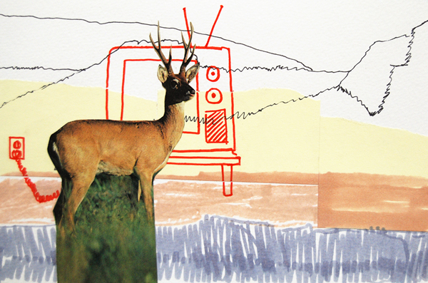 Deer TV, collage ink and sticky note on paper