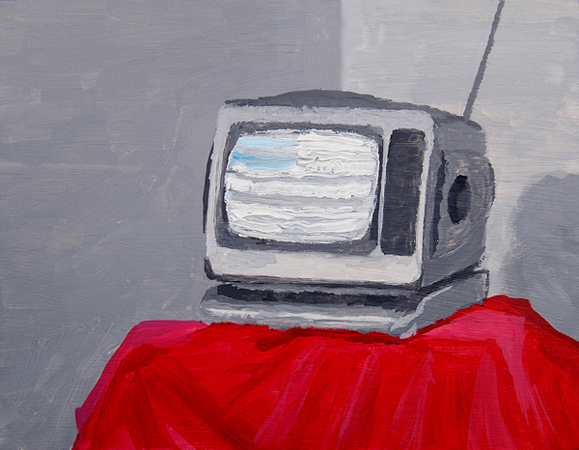 Great American TV, acrylic and oil on panel