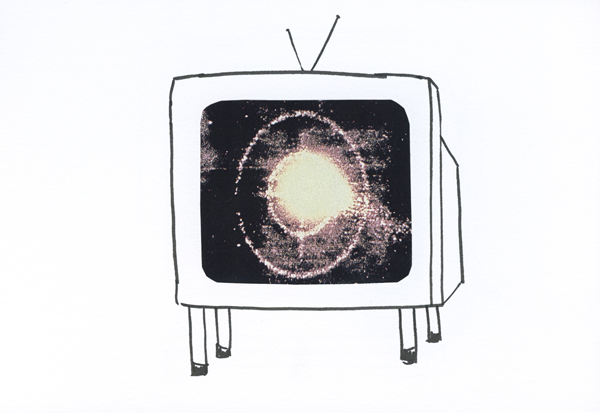 Space TV, collage and ink on paper