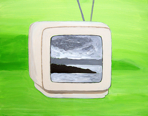 TV Landscape, acrylic and pencil on panel